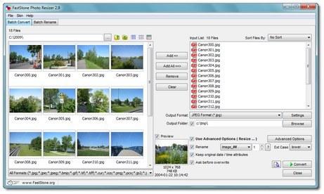 Faststone Photo Resizer optimiser images